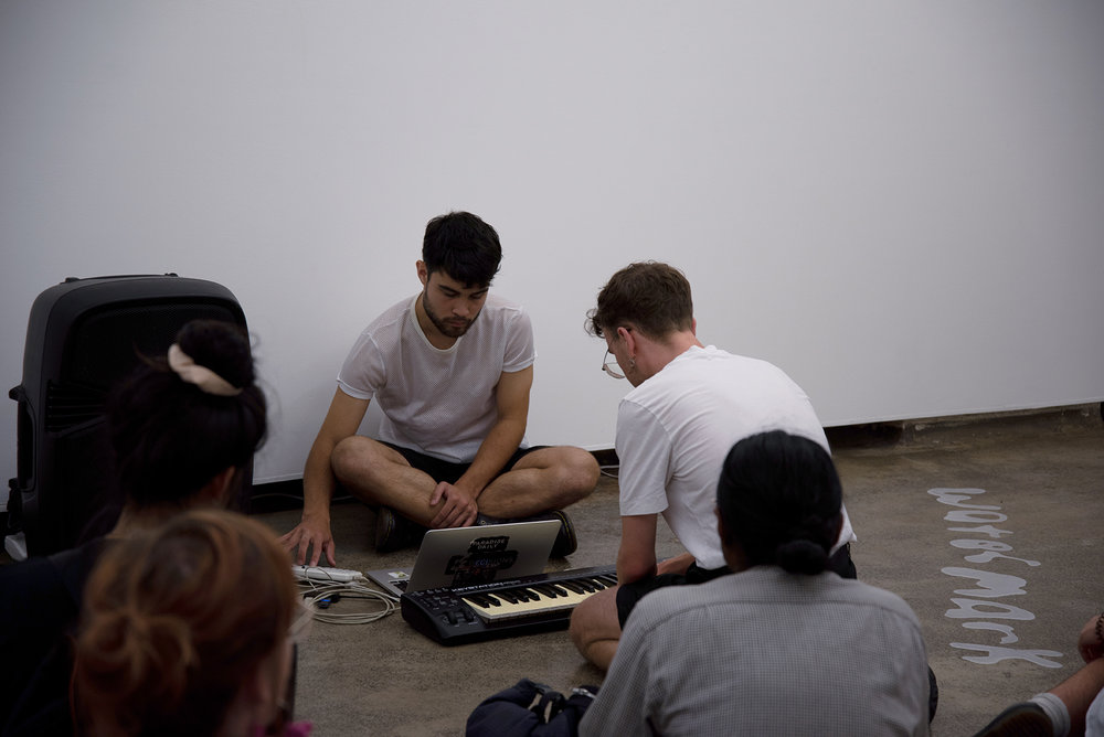 watermark (the live sound)   with Marcus Whale. 2019. live performance with sound and text reading - part of exhibition   watermark    all photo credit: Kieran Butler
