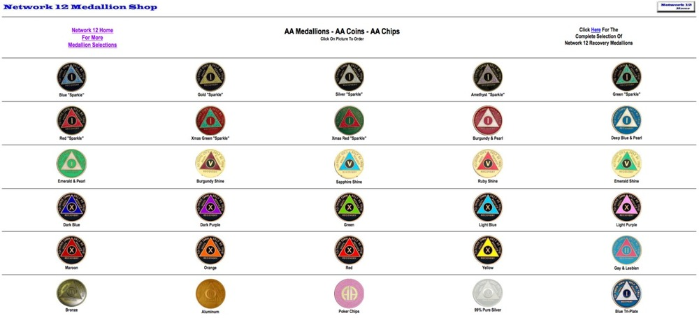 I think that AA chips are really powerful objects. They have Las Vegas and Christian roots at the same time, and come in an infinite variety. They're really personal. They must mean the most those who use them to reminders to stay sober, to celebrate their battle with addiction, and pins signal a certain camaraderie in popular culture.   As a project I'm going to make my own.