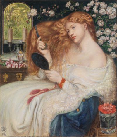 Lady Lilith - Fanny Cornforth, amanta lui Rossteti este cea care a servit drept muza si inspiratie artistului si ucenicului acestuia, Henry Treffry Dunn,pentru intruchiparea seducatoarei Lilith(1866)