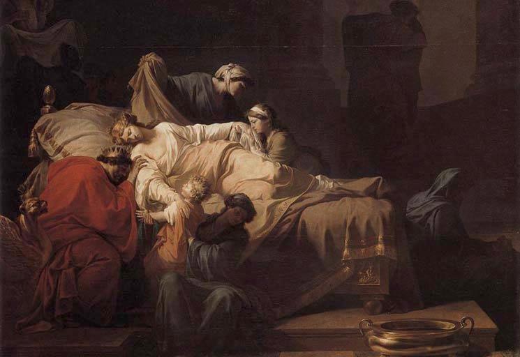 Moarte Alcestei - pictura realizata de catre Pierr Peyron (1744-1814)