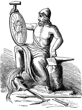 Vulcan (Hephaestus)reprezentat impreuna cu simbolurile sale (ciocanul,nicovala si clestele); Sursa:Alexander S. Murray, Manual of Mythology)