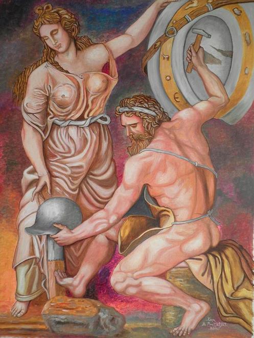 Vulcan si Thetis lucrand armele lui Ahile.