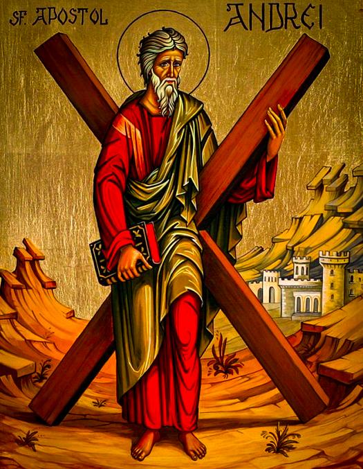 Sf. Andrei reprezentant in iconografia bizantina purtandu-si crucea de martir.