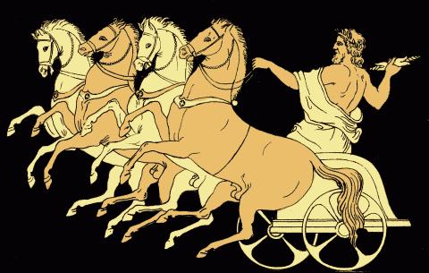 Zeus purtat in carul sau de cele patru vanturi