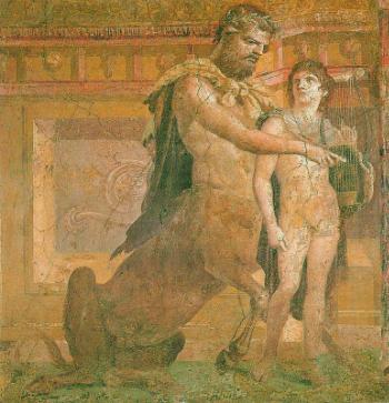 Educatia lui Ahile de catre Chiron - fresca Muzeul National de Arheologie, Herculane