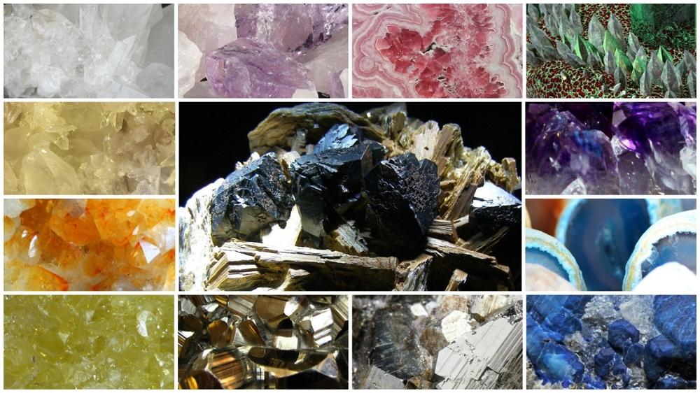 Cristale - varietati -cristal de roca, pirita, afganit, cuart roz, citrin, ametist, agat etc.