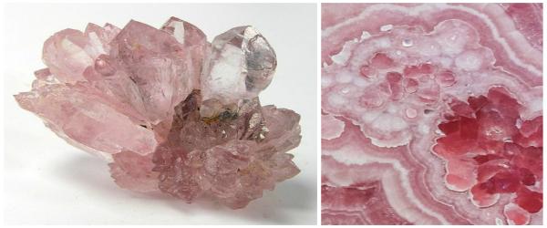 Cuart roz (Brazilia) - un exemplar extrem de rar intalnit datorita transparentei sale.   Foto:Rob Lavinsky, iRocks.com – CC-BY-SA-3.0;Cuart roz - sectiune intr-o gema