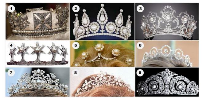 1.Diadema de Stat a lui George IV (UK)—2.Tiara Rosebery (UK)—3.Tiara Reginei Margherita (Italia)—4.Tiara cu perle apartinand familiei Mountbatten —5.Tiara cu perle (Norvegia). — 6.Tiara Printesei Brigitta (Suedia)—7.Tiara veche cu perle (Grecia)—8.Tiara Ogilvy (UK)—9.Diadema Cartier cu diamante si perle (Spania). Foto:Order of Splendor.