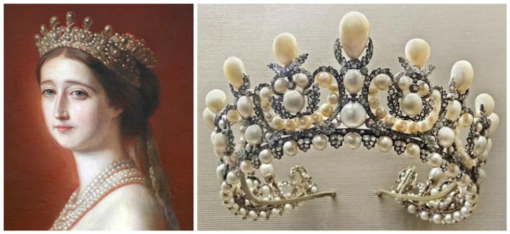 Tiara Reginei Eugenie (1853) contine 212 perle naturale si poate fi admirata la Muzeul Luvru din Paris.