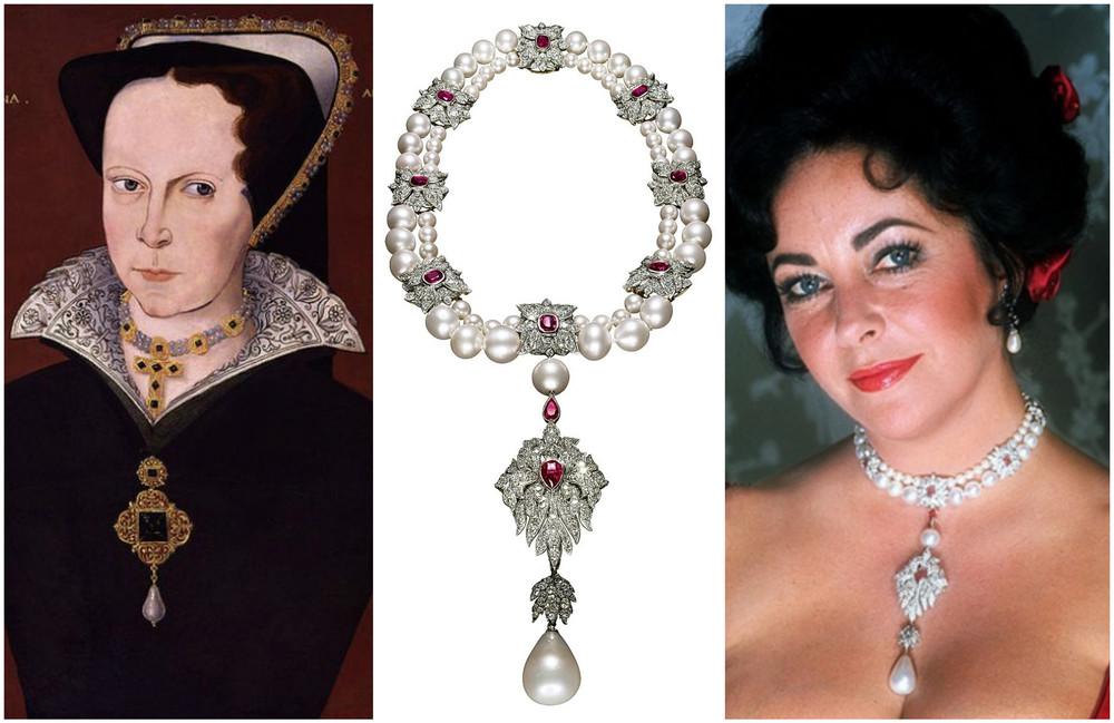 """1. Maria Tudor purtand la gat """"La Peregrina""""—2-3. Colierul """"La Peregrina"""" purtat de Elizabeth Taylor (design Al Duarte Cartier)"""