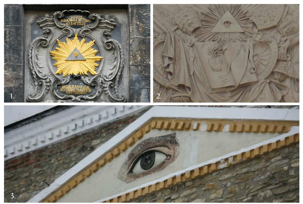 1.Basorelief Catedrala din Aachen (Germany).2. Ochiul Atotvazator de la intrarea bisericii din Piazza del Popolo (Roma).3. Ochiul lui Horus (ochiul atotvazator), care poate fi vazut deasupra portii de la intrarea in curtea Manastirii Neamt,atestata documentar din 1407.