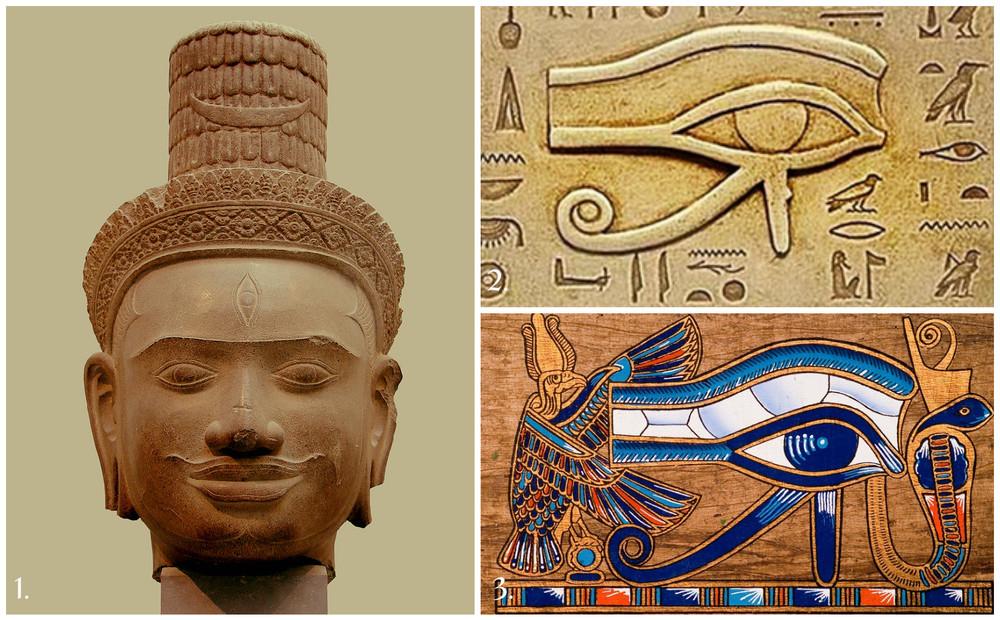 1.Brahmā (Cambodgia, provincia Siemreap, Phnom Bok, sec IX-X, Muzeul Guimet, Paris);    2. &3. Ochiul lui Horus (Egipt)