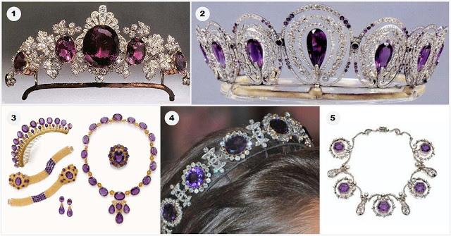1. Tiara cu cele mai frumoase ametiste (Tavistock)din Marea Britanie, apartinand familiei Bedford;2. Tiara cu ametiste; 3. Tiara cu ametiste (1880); 4. Tiara cu ametiste purtata de Regina Josephine (Suedia); 5. Un colier de ametist purtat si ca tiara, apartinand Reginei Alexandra. Sursa: Order of Splendor