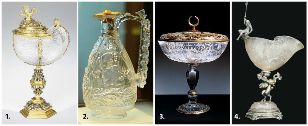 1. Cupa Hermann Ratzersdorfer (sec. XIX);2. Carfa tezaurului Fatimid (sec. XI);3. Cupa Dianei de Poitiers (sec. XVI);4.Cupa Karl Rossler (sec.XIX).
