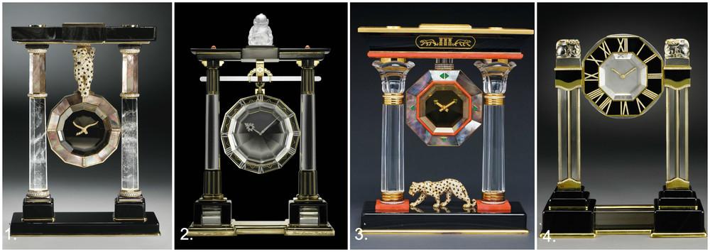 Ceasurile Art Deco Cartier - 1.Pantera (aur, diamante, smaralde, onix, perle, cuart fumuriu, cristale de stanca si agate negre); 2.Ceas Cartier (1923, platina, aur, cristale de stanca, onix);3. Ceasul egiptean cu pantera;4. Ceasul Cartier cu fiinte mitice chinezesti.