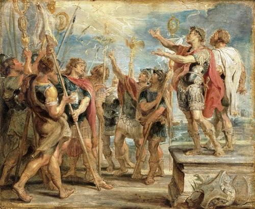 Pictura semnata de Rubens infatinsand scena dezvaluirii Sfintei Cruci in ajunul infruntarii cu Maxentiu (312); Muzeul de Arta din Filadelfia (SUA).