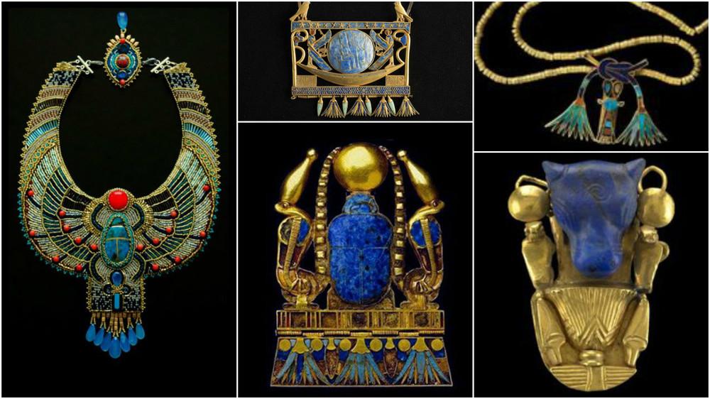 Bijuterii cu Lapis Lazuli si alte cristale (turcoaz, coral)din Egiptul Antic