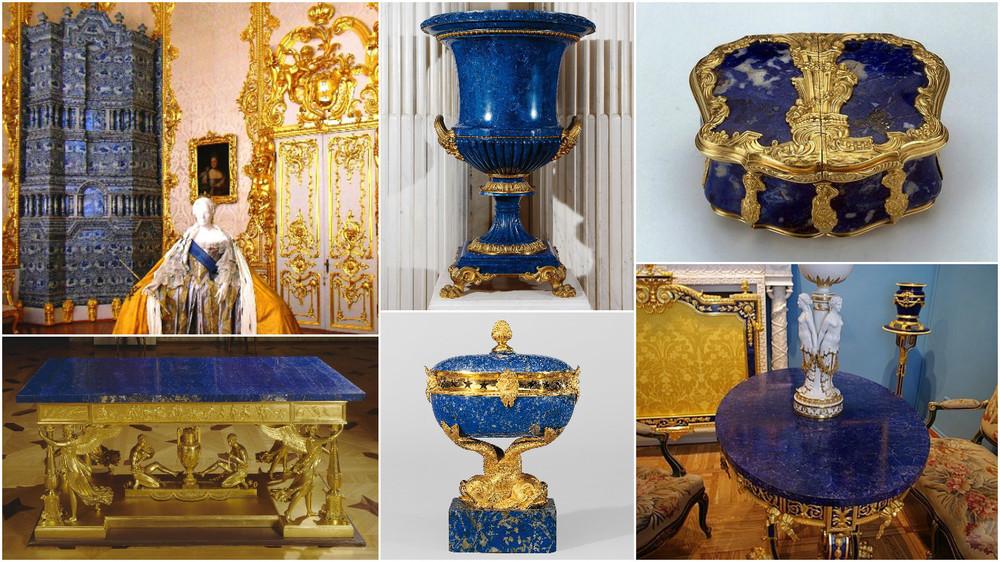 Caterina cea Mare a Rusiei, admiratoare a Lapisului Lazuli (Palatul de Vara, Muzeul Hermitage)