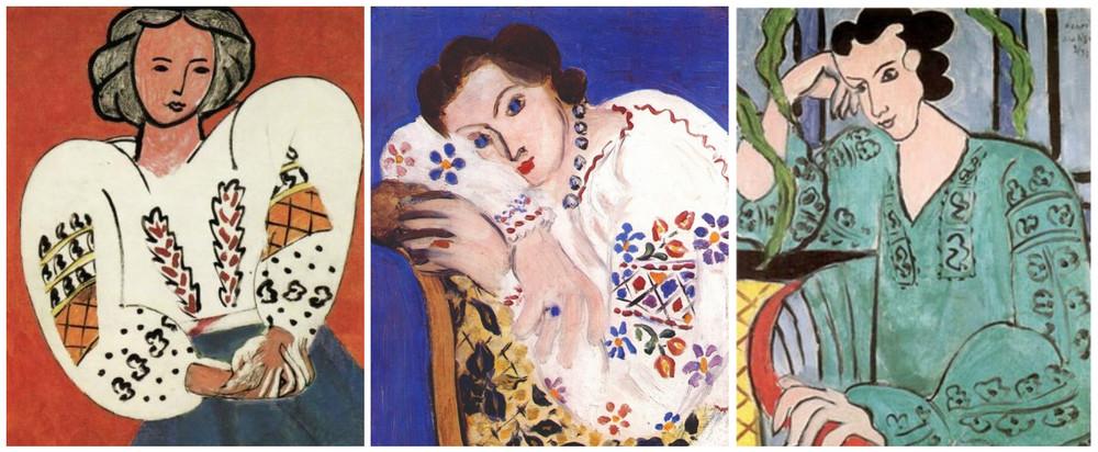 Cateva dintre picturile lui Henri Matisse avand ca inspiratie ia romaneasca - 1. La Blouse Roumaine (1940) 2.Peasant blouse (1936) 3.La Hongroise a la blouse verte