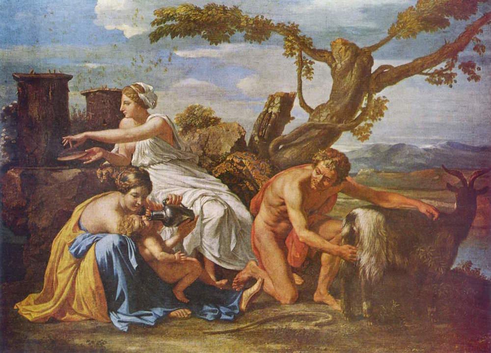 Jupiter copil hranindu-se cu laptele Amalteei - pictura de Nicolas Poussin