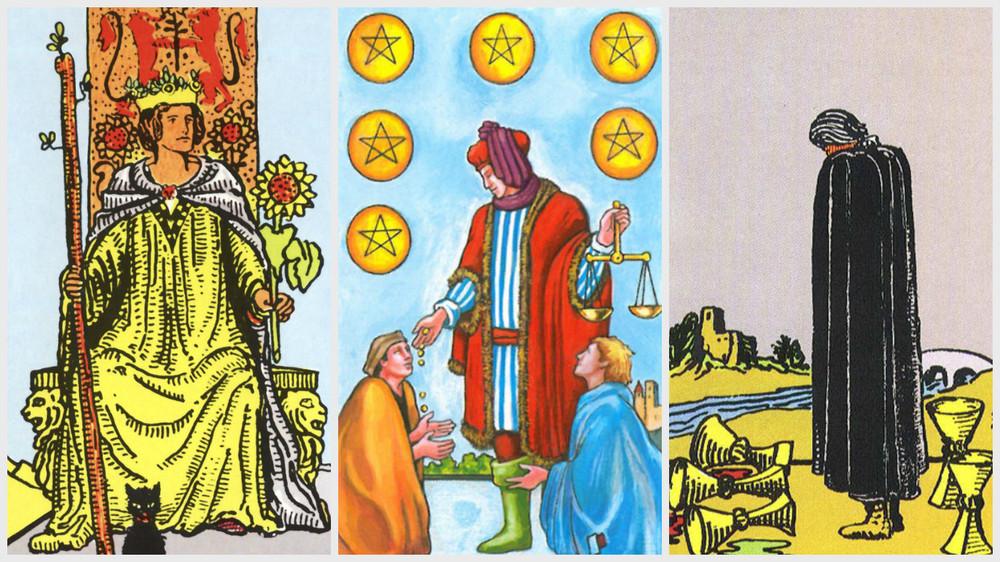 1. Regina de Bate (trecutul). 2. Sase de monede (prezentul). 3. Cinci de Cupe (viitorul)