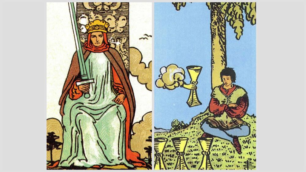 1. Regele de Spada. 2. Trei de Cupe