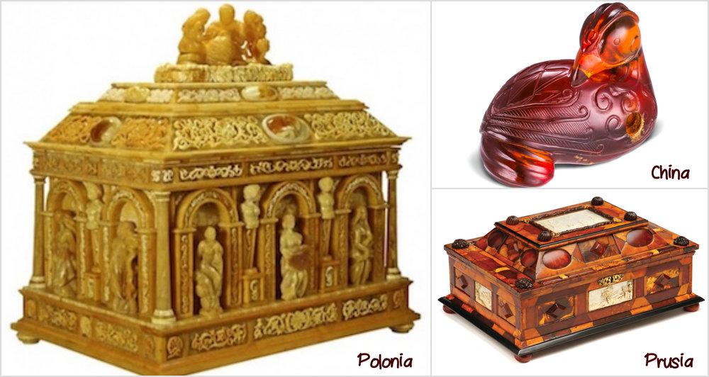 Obiecte din Chihlimbar - 1. Cutie sculptat de catre maestrii artizani din Gdańsk (sec.XVII)2.Pasare pe piatra datand din timpul dinastiei Qing (sec.XVII), vanduta in 1965 la una din licitatiile Casei Christie's din Londra.3. Cutia,atribuita maestrului Gottfried Wolffram, cel care a inceput sculptura faimoasei Camere de Chilimbar, a fost un dar pentru Frederick I al Prusiei (1701).