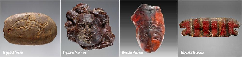 Pandante din chilimbar - 1. Egiptul Antic (sec.VII i.Hr);2. Imperiul Roman - Cap de Meduza (sec.I-II d.Hr); 3. Grecia Antica (sec.IV i.Hr.); 4. Imperiul Etrusc (500-480 i.Hr.)