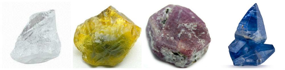 Varietati de Safir - 1. Safir alb 2. Safir galben 3. Safir violet 4. Safir albastru