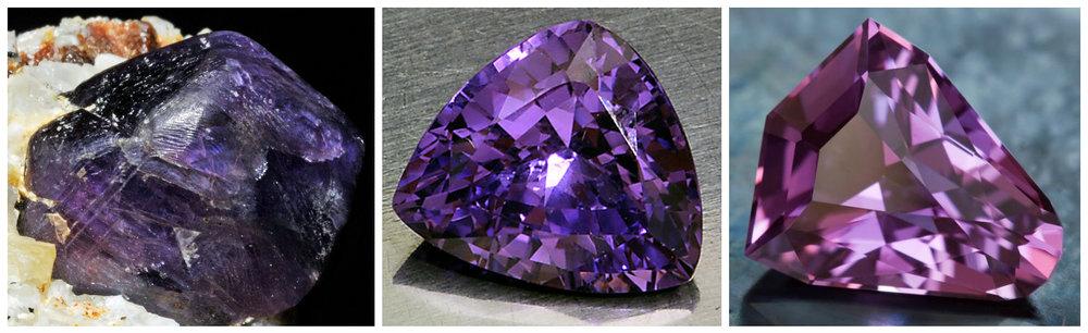 Safir violet - 1. neslefuit; 2-3. slefuite