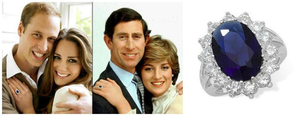 1. Printul William & Kate Middleton; 2. Printul Charles & Diana Spencer; 3. Inelul de logodna cu safir albastru si diamante ce apartine familiei regale britanice purtat de cele doua printese.