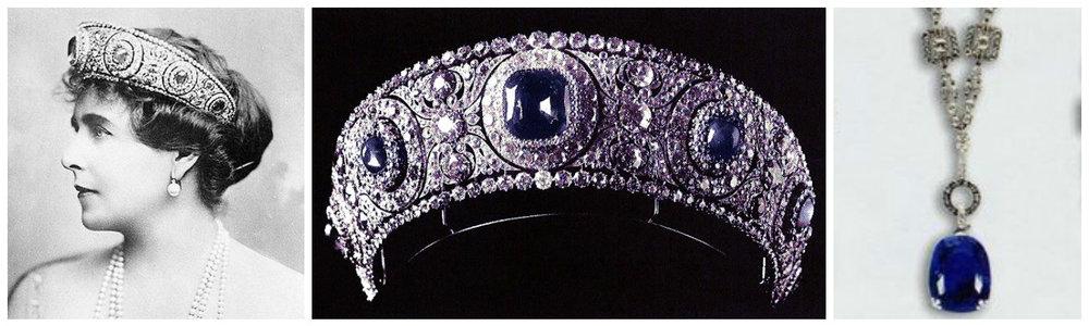 1-2. Regina Maria purtand tiara cu safire albastre;3. Colierul Cartier daruit Reginei Maria de regele Ferdinand.