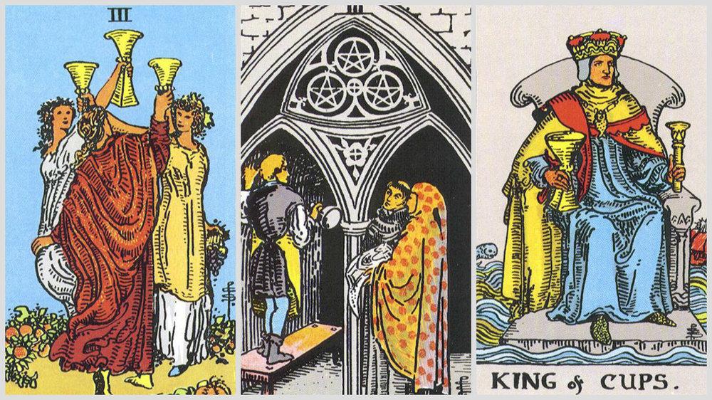 Carti de Tarot etalate (saptamana 10-16 octombrie 2016) - 1. Trei de Cupe; 2. Trei de Monede; 3. Regele de Cupe.