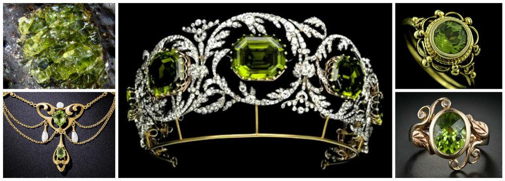 Olivina - cristalul care a inspirat bijutierii de-a lungul secolelor (colier Art Nouveau; inel stil victorian; inel vintage). Tiara cu Olivina si diamante a apartinut Arhiducesei Isabel de Austria si putea fi purtata si drept colier (c.1825).