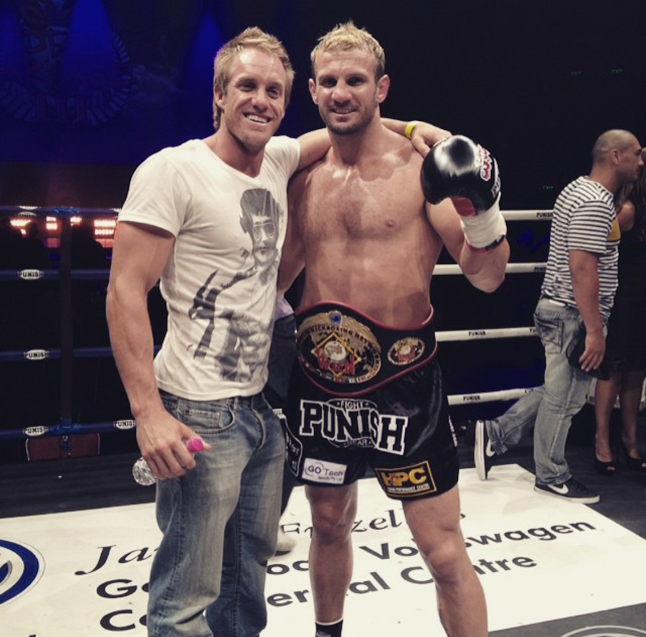 Coach Shane (left) trained 11 x Heavy Weight Muay Thai Champion, Nathan Corbett to his last 3 World titles.