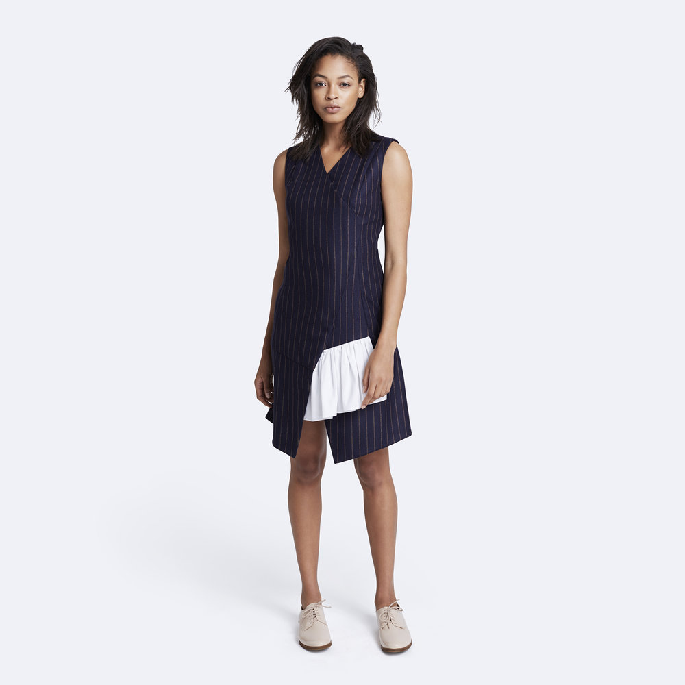 Rallier - Maxine Dress - Italian Wool - Navy - Front.jpg