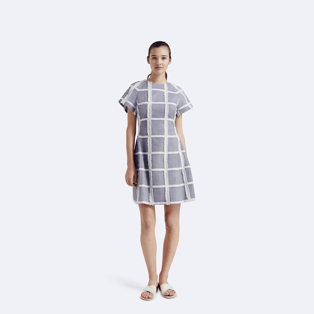 Rallier - Lily Dress - Signature Check Print - Ink - Front.jpg