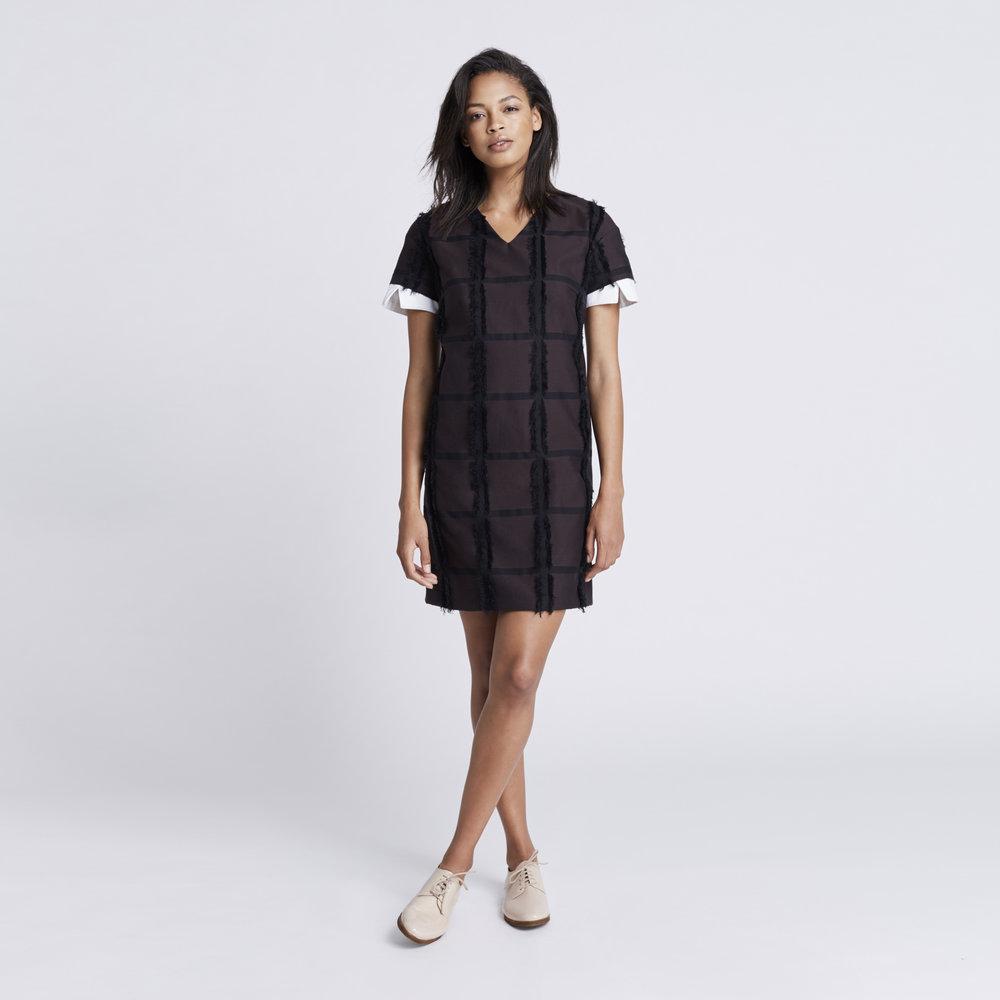 Rallier - Gabriella Dress - Signature Check Print - Mahogany - Front.jpg