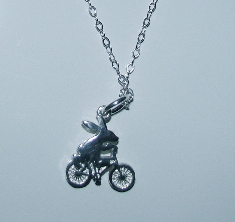 Bunny on a Bike Necklace