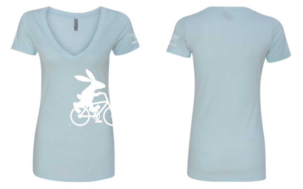 Swamp Rabbit Inn Women's Light Blue V Neck T Shirt