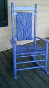 Purple rocking chairs Swamp Rabbit Inn
