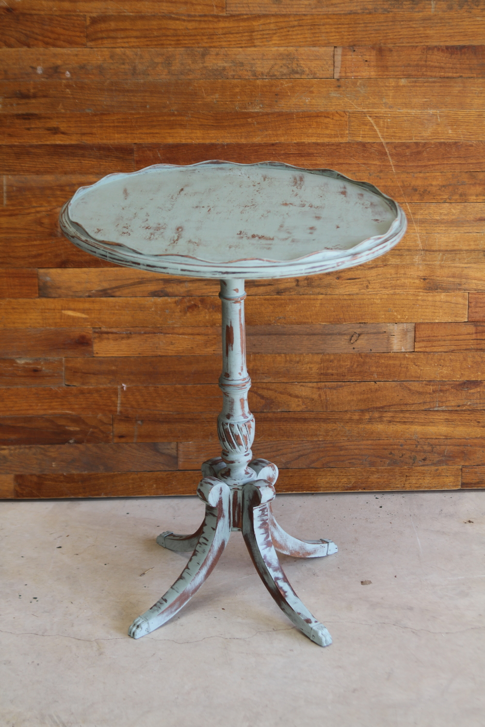 Blue Pedestal Side Table