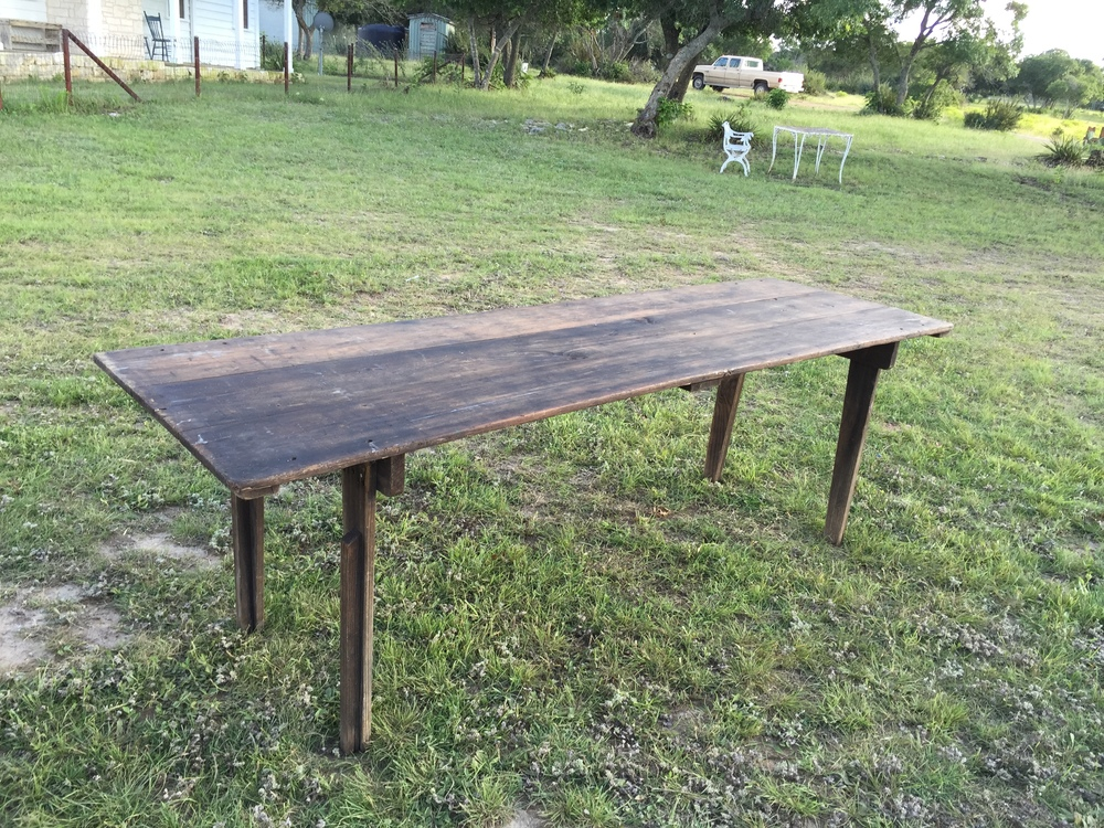 8 ft Simple Wooden Farm Table