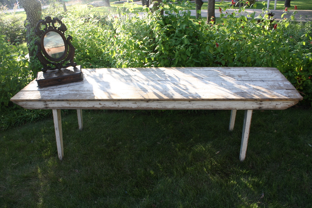 8 ft Weathered White Farm Table