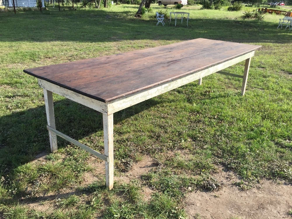 10 ft Wooden Top Chippy Leg Farm Table