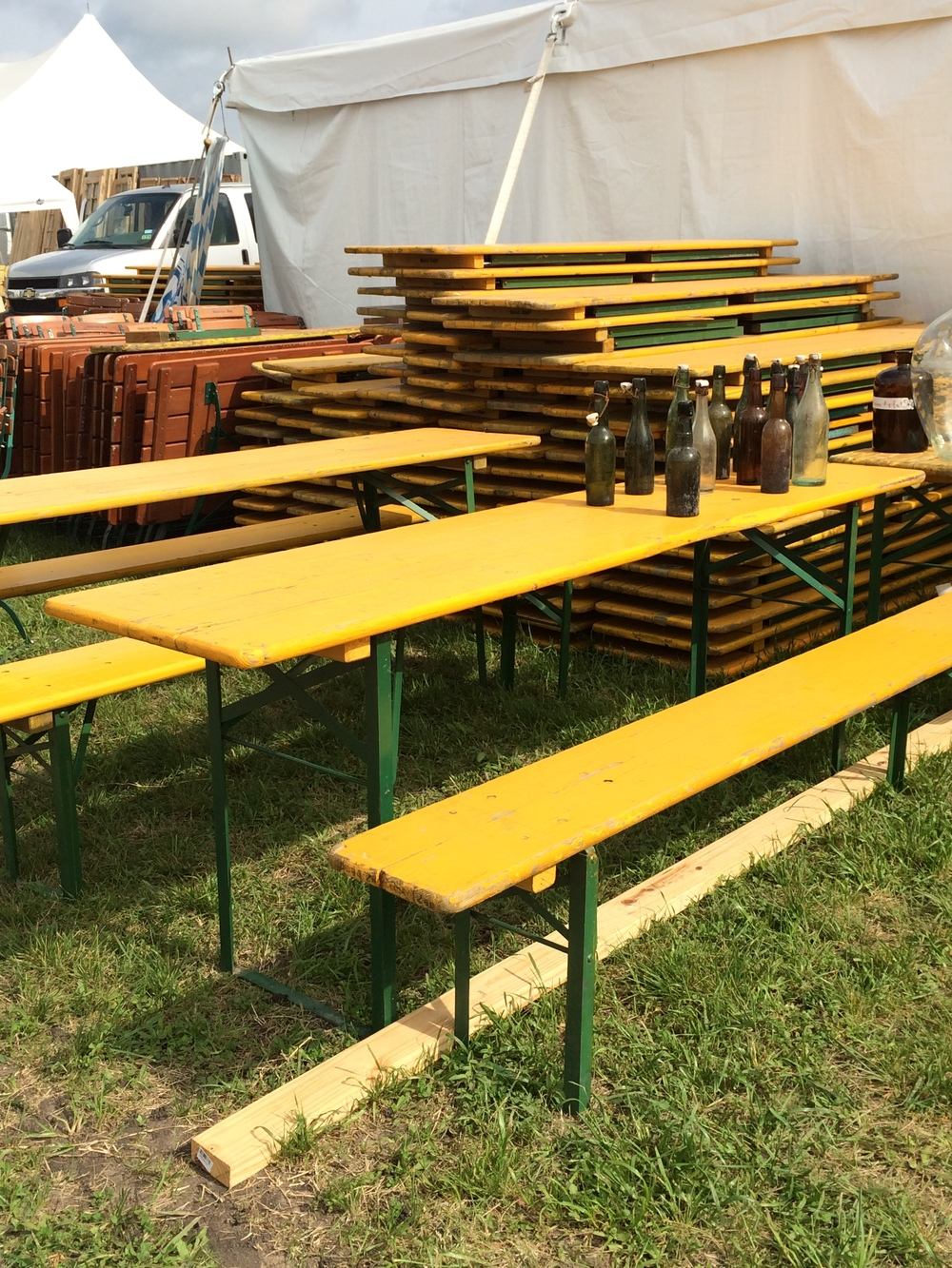 Yellow Biergarten Tables with Benches