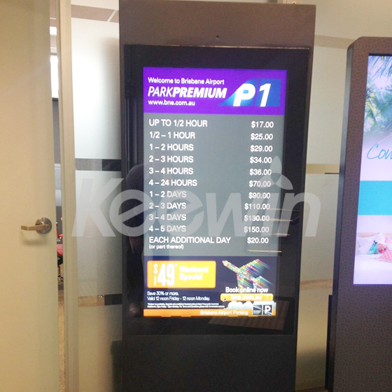 43 inch Outdoor High Brightness LCD Display   Brisbane Airport
