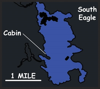 SOUTH EAGLE LAKE    Primary Species: Walleye, Pike and Jumbo Perch   Area: 1700 Acres   Guest Capacity: 12