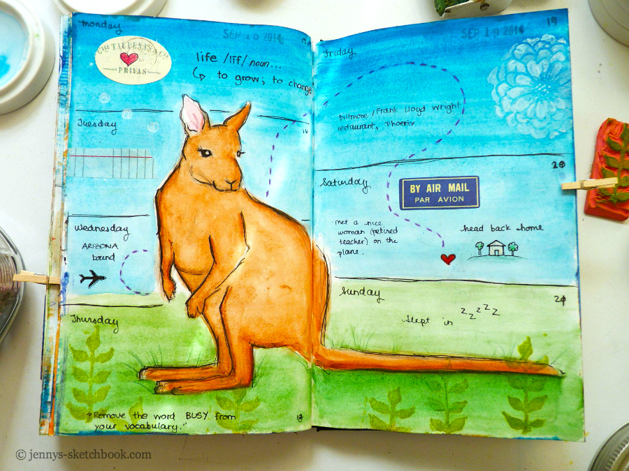 kangaroo journal pages, Jennifer Frith