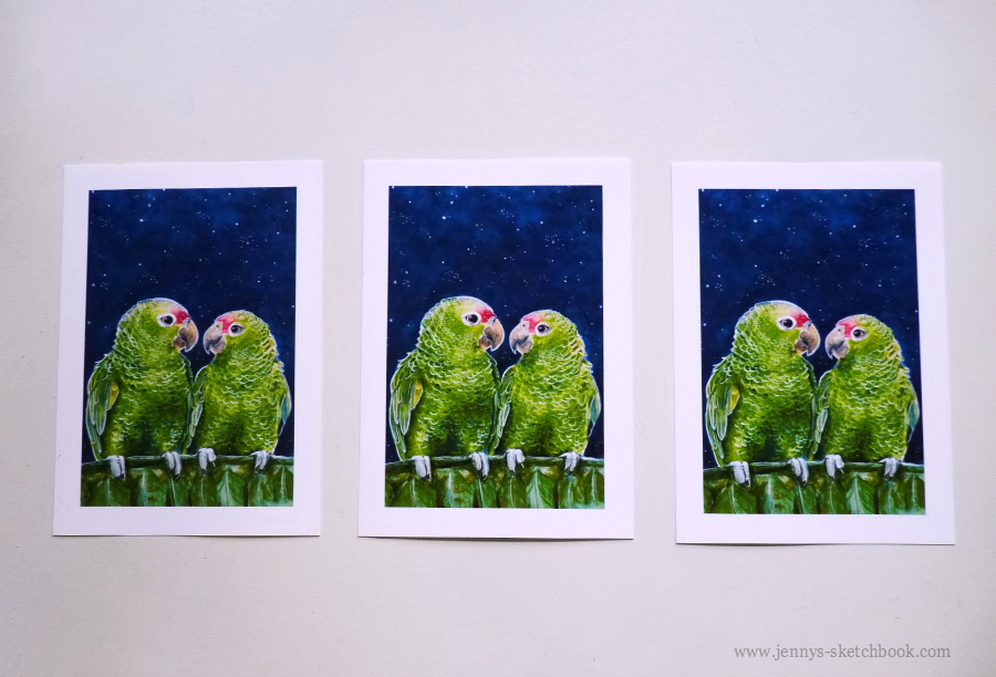 Love Birds in watercolor, by Jennifer Frith